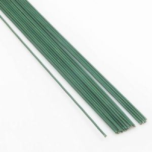 Florist wires, Dark green, 15 pieces, Length 80cm, Diameter 0.8mm [approximate], Gauge 20, [TS193]